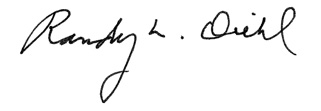 Dean Randy L. Diehl's signature