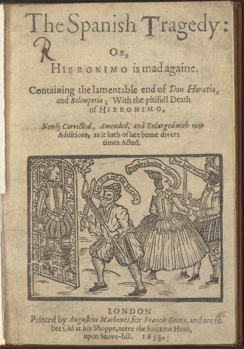 Thomas Kyd's 'The Spanish Tragedy' contains 325 lines now proven to have been written by William Shakespeare. [First edition of The Spanish Tragedy cover, courtesy of the Harry Ransom Center]