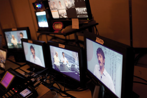The view from the control room during broadcast. Photo: Tamir Kalifa