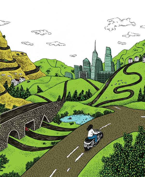 Illustration of green hills, roads, bridge, pond, and city with girl on bicycle. Illustration by Brad Amorosino.