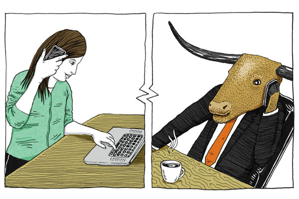 Illustration of woman talking on cell phone while typing on laptop and longhorn talking on cellphone with a cup of coffee. Illustration by Brad Amorosino.