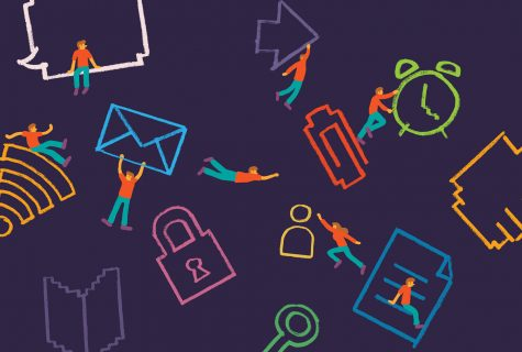 Illustration of little men jumping, climbing, and swinging between online icons, like a mail icon, a lock icon, an arrow, a sheet of paper, and a paperclip.
