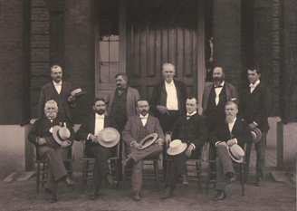 Official staff of the Central State Hospital in Petersburg, Va., 1899; center of first row is superintendent, William Francis Drewry.
