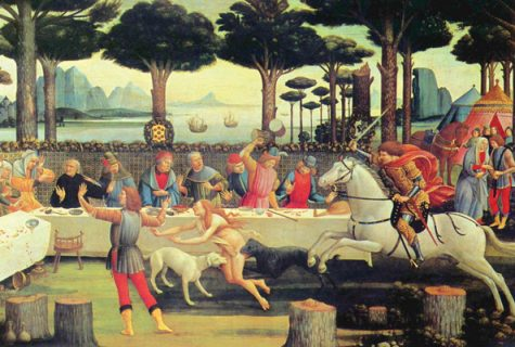 """The Banquet in the Pine Forest"" (1482/3) is the third Painting in Sandro Botticelli's series ""The Story of Nastagio degli Onesti"", which illustrates events from the Eighth Story of the Fifth Day."
