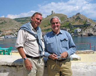 Joseph Carter, left, director of the College of Liberal Art's Institute of Classical Archaeology (ICA), with former U.S. Ambassador to Ukraine (1993-1998) William Green Miller, now a senior policy scholar at the Kennan Institute; at Balaklava in the Crimea. The tower of the Genoese fort of Cembalo can be seen in the background.