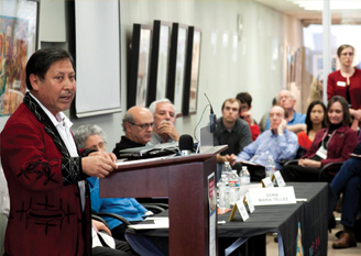 """Pablo Ceto, vice provost of Universidad Ixil, Guatemala, speaks during the Feb. 19 keynote panel titled """"Historicizing the Central American Revolutions."""""""