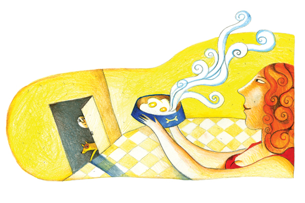 Illustration of red-curly-haired woman with dog's bowl with two fried eggs and boy and dog entering through door. Illustration: Yevgenia Nayberg.