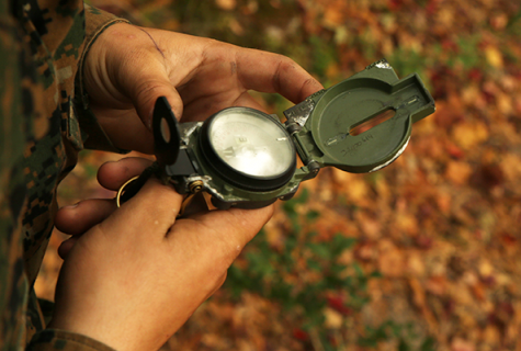 person holding compass with leaves in background