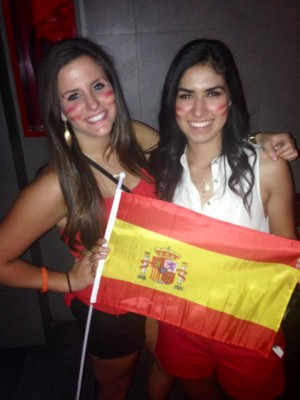 """Although Spain didn't do as well as everyone had hoped, it was still exciting to be in Spain during the World Cup because everyone is so passionate about soccer,"" says Megan, who is posing with fellow embassy intern Isabella."
