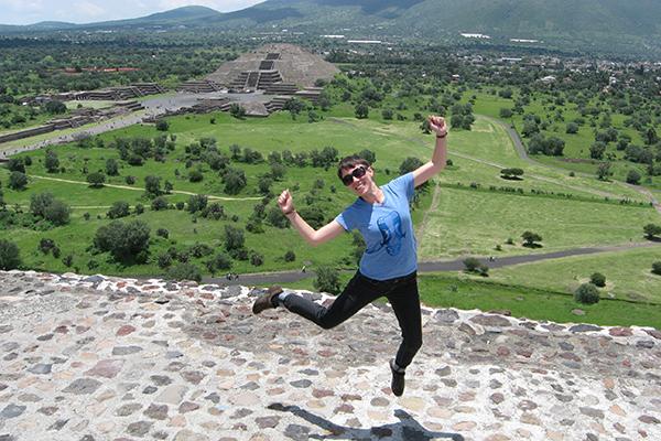 Flanagan at the top of a pyramid in Teotihuacan.
