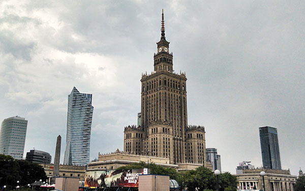 The Palace of Culture and Science, Poland's tallest building, was 10 blocks from Cantu's Warsaw office.