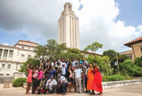 Twenty-five WashingtonFellows pose in front of theUT Tower on their first dayon campus