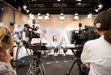 Students from UT's Senate of College Councils at Voice of America taping in a LAITS studio