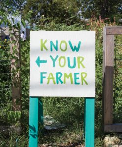 Know Your Farmer signage located at the UT Micro Farm