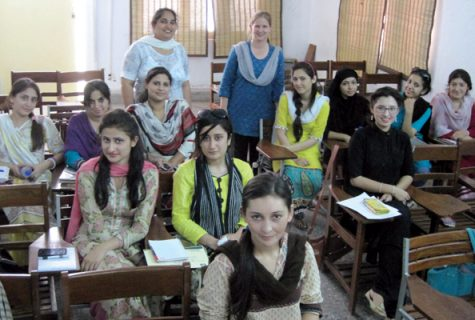 Students and their professors who co-taught a class on gender in Pakistan