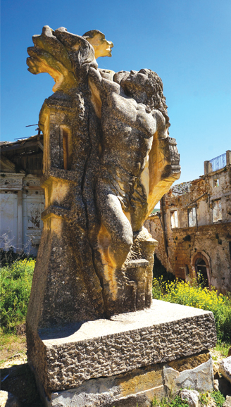 Public sculpture in Piazza Elimo, located in ruins of old town destroyed in 1968 earthquake, Sicily