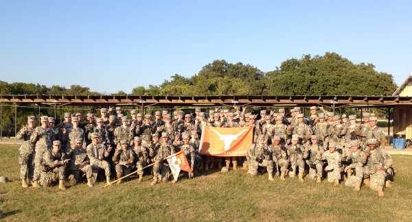 Texas Army ROTC cadets at Camp Mabry after a lab tactical exercise.