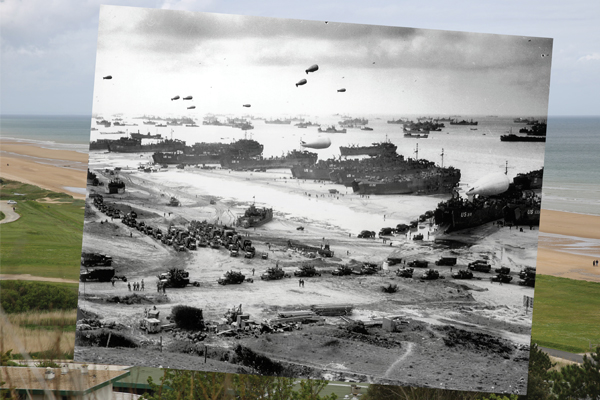 Composite image contrasts Omaha Beach site in Normandy region of France on D-Day, 1944 with view of same site on May 7, 2014