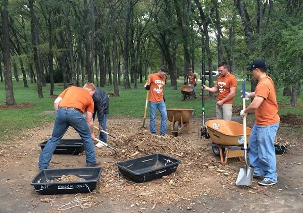 Cadets hard at work at Onion Creek.