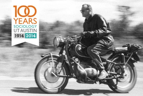 C. Wright Mills on BMW motorcycle, 1958