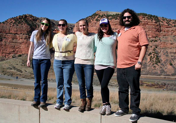 Garza poses with some of the other National Historic Trails interns at the workshop in Utah.