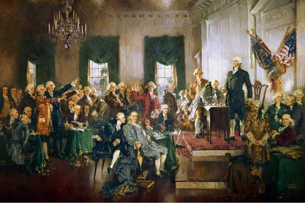 The signing of the Constitution. Painting by Howard Chandler Christy.