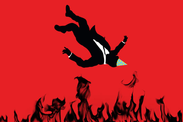Stylized illustration of a silhouetted man in a suit falling into flames against a red background. The man wears a colorful, pointed birthday hat. The illustration is reminiscent of the opening titles from the t.v. show, Mad Men.