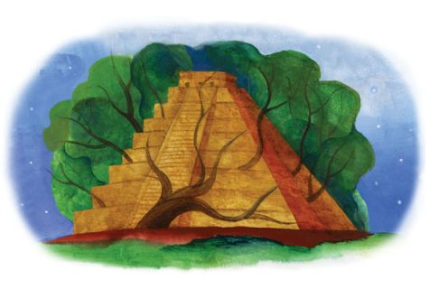 Illustration of a Mayan ruined ziggurat with zines and trees growing around it.