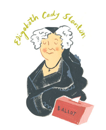 Gauche painting of Elizabeth Cady Stanton with a ballot box.