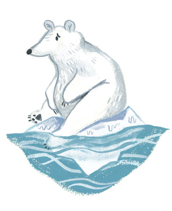 Gauche painting of a worried-looking polar bear on a tiny melting glacier.