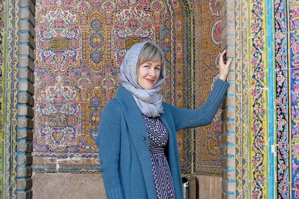 Stephennie Mulder at the mosque of Nasir al-Mulk in Shiraz, Iran.