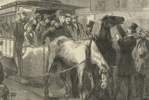 Old illustration of two overworked horses pulling a trolly cart in a crowded street with onlookers.