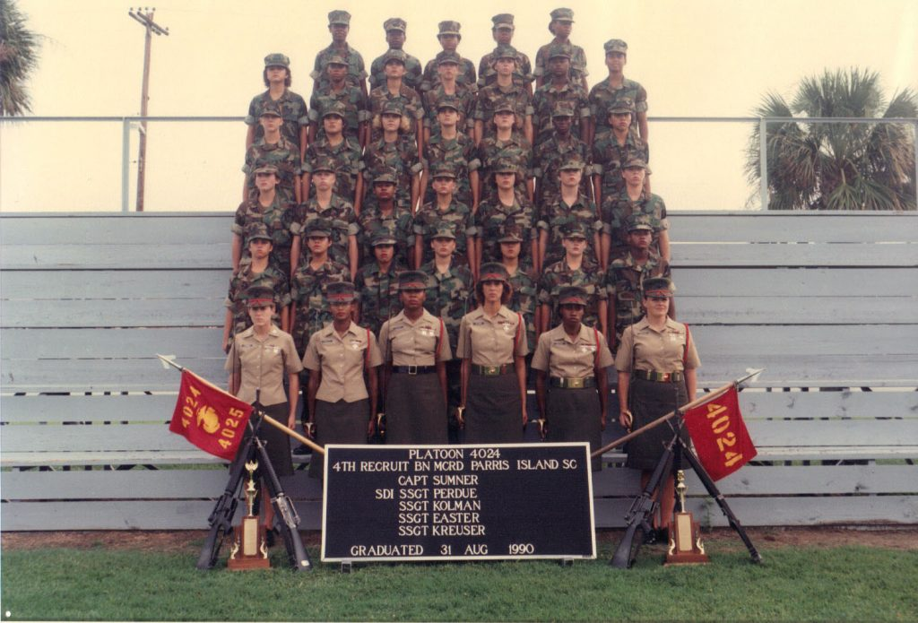 Parrish pictured here with her boot camp graduating class (third row from the top, second from the left).