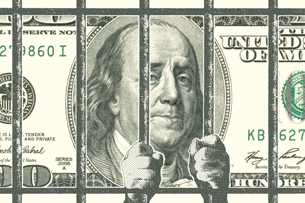Illustration of the 100 dollar bill. Bejamin Franklin looks depressed as there are jail cell bars that he appears to be gripping.
