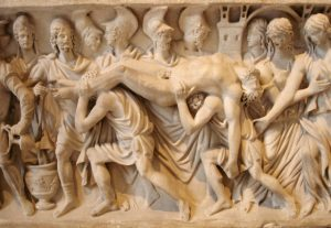 Hector brought back to Troy. From a Roman sarcophagus of c. 180–200 AD.