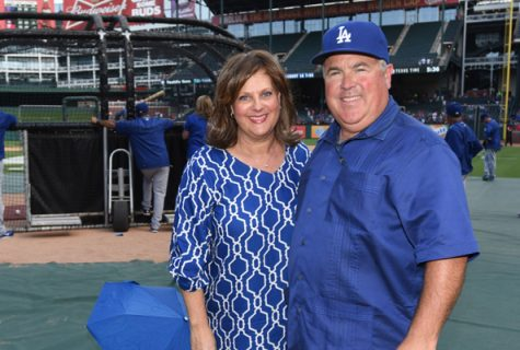 Photo of Sherri and Bobby Patton Jr. at Globe Life Park in Arlington, Texas.