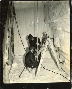 Taken at Camp Century, Greenland, when Orr was assigned to the Polar Research and Development Command, coring into the Arctic icecap.