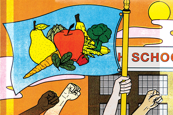 Stylized illustration of raised fists from children in front of a school and holding a flag with vegetables printed on it.