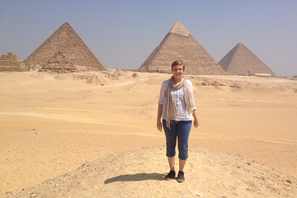 Helen Heston in front of pyramids