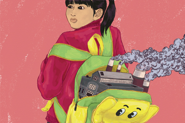 Surreal illustration of a young schoolgirl with her backpack open. She looks nervous as a factory with a smokestack pokes out of it. Smoke is billowing out of the backpack.