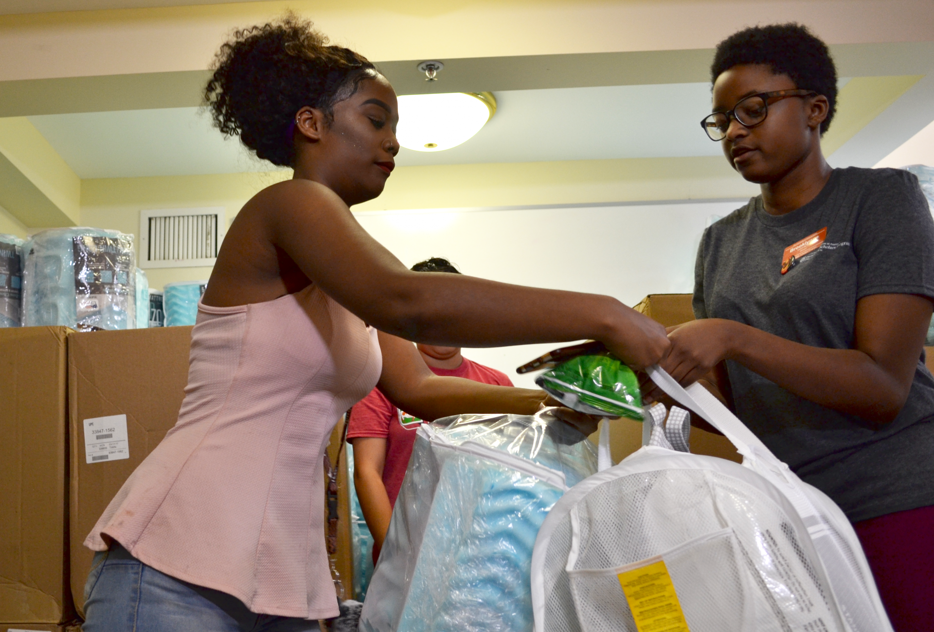 students in the College of Liberal Arts Foundation Scholars Program received bundles of dorm supplies
