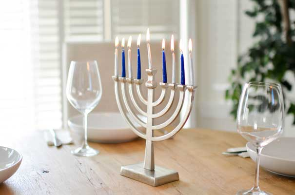 menorah with all candles lit
