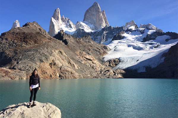 Megan Nater standing by a body of water in Argentina