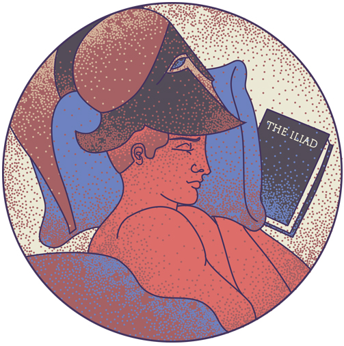Stylized illustration of Alexander the Great sleeping with a copy of The Iliad under his pillow.