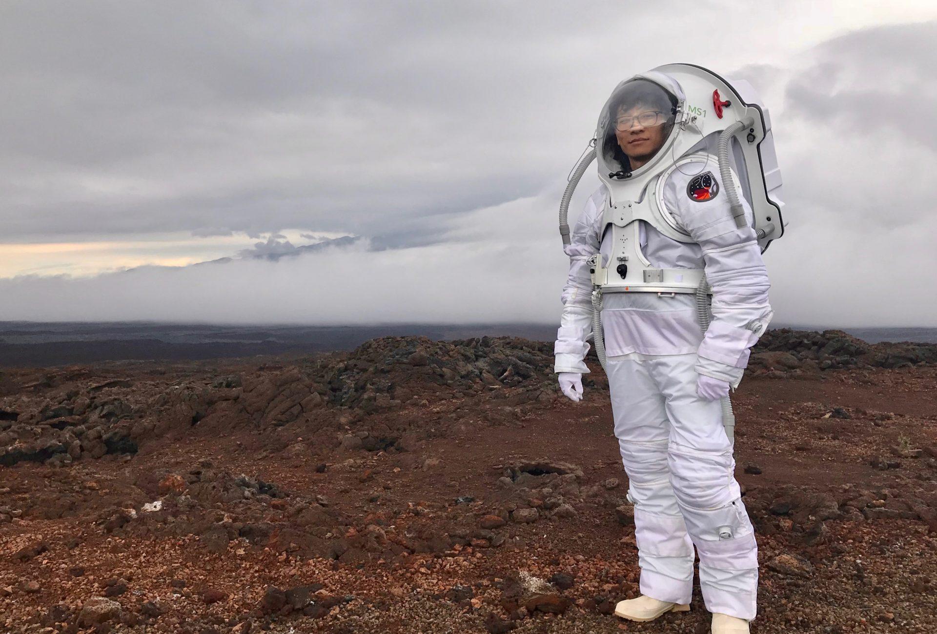 in 'Mars' spacesuit