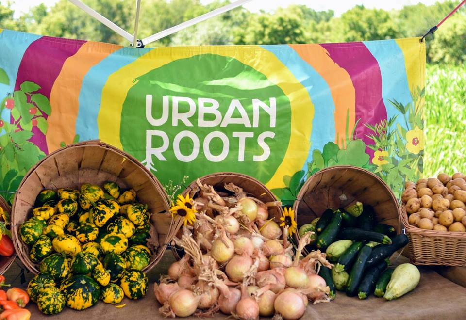 Urban Roots banner with baskets of vegetables.