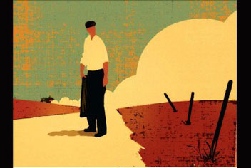 Illustration from Grapes of Wrath cover with man standing holding black jacket.