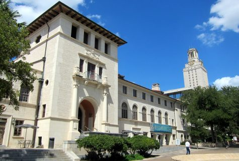The Student Union Building at the UT Austin Campus with the Tower in background.