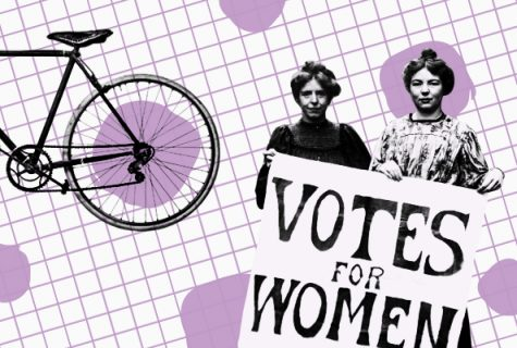 illustration including two women holding votes for women sign, partial view of back bicycle wheel with lavender grid as background.