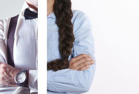 Left side is a man in a tuxedo wearing watch with crossed arms and the right half is a woman with long brown braid wearing a blue oxford shirt with arms crossed. There is a white line separating the two images.